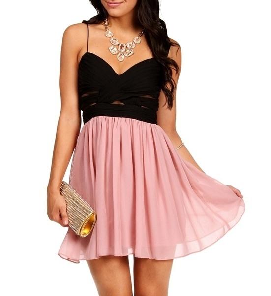 Elly Black/Blush Short Dress - InStores