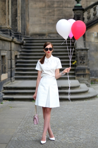 vogue haus blogger shirt skirt bag shoes sunglasses jewels white dress t-shirt dress white heels mini bag all white everything white skirt pink bag all white outfit