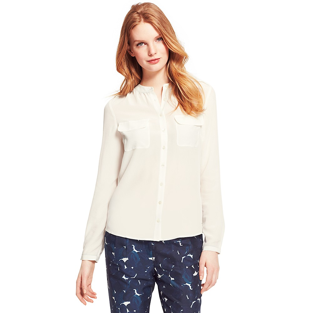 LONG SLEEVE SOLID BLOUSE | Tommy Hilfiger USA