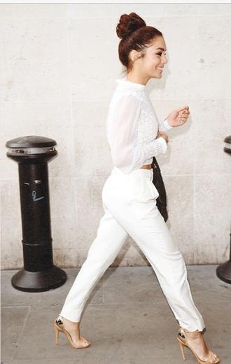 jumpsuit white pants white crop tops
