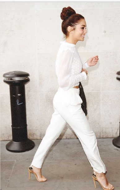jumpsuit white pants white crop tops
