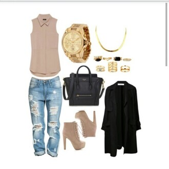 shoes tan boots boots high heels jeans denim pants top blouse purse bag jacket black jacket polyvore clothes sets gold watch necklace jewels black bag low cut jeans long coat ootd stylish style tan outfit light brown tan booties short sleeve outfit idea fashion ripped jeans light brown wedges