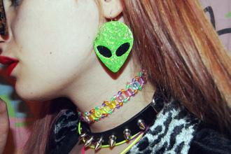 jewels alien earrings choker necklace blouse