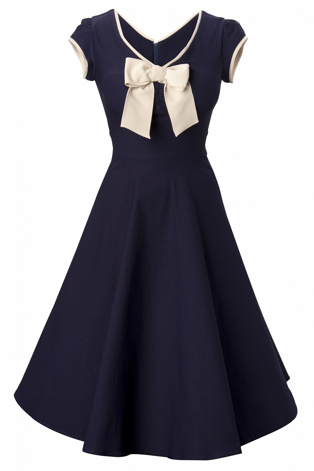 Stop Staring! - 50s Belinda Navy Tan swing dress