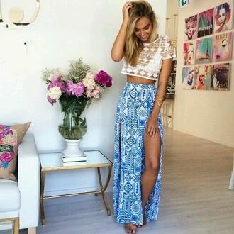 skirt maxi skirt crochet top highwaistedskirt