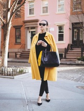 coat,black pants,black shoes,pumps,bag,yellow coat,yellow,pants,shoes,mid heel pumps