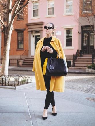 coat black pants black shoes pumps bag yellow coat yellow pants shoes mid heel pumps