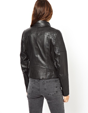 ASOS | ASOS Leather Biker Jacket with Quilt Detail at ASOS