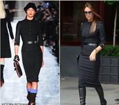 fall dress,victoria beckham,long sleeve dress,long sleeves,black dress,bodycon dress,formal dress,formal black dress,knee high boots