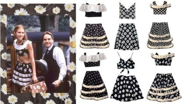 dress lolita black and white lace flowers skirt and top skirt and top set