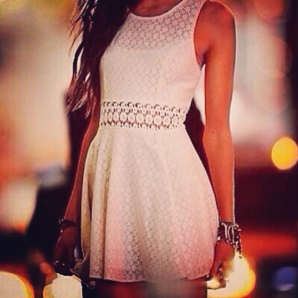 dress white dress see through cut-out dress