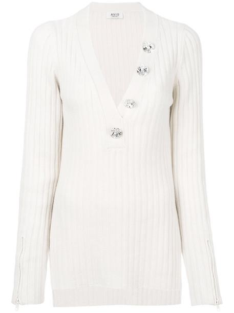 AVIU jumper women white silk wool sweater