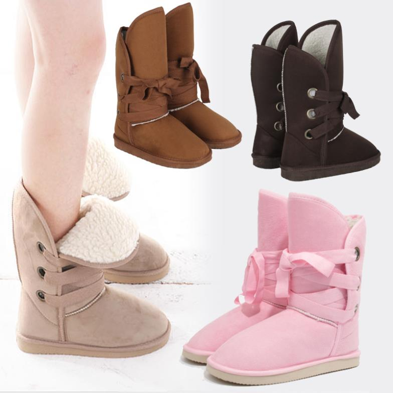 2013 hot fashion women's girl's winter snow warmer 5 colors boots best price cheap mid calf lace up artifacial wool #l035571