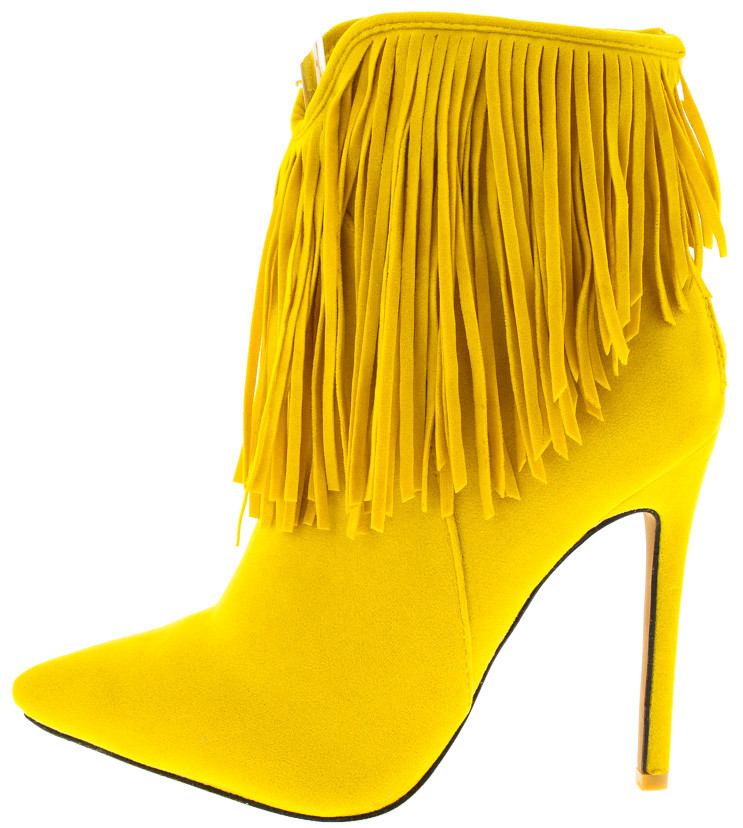 YELLOW POINTED TOE FRINGE ANKLE BOOTS FROM $12.88 - $27.88.