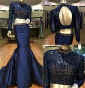 dress,navy,two piece dress set,elegant,formal,fashion,style,trendy,sparkle,open back,long sleeves,dressofgirl