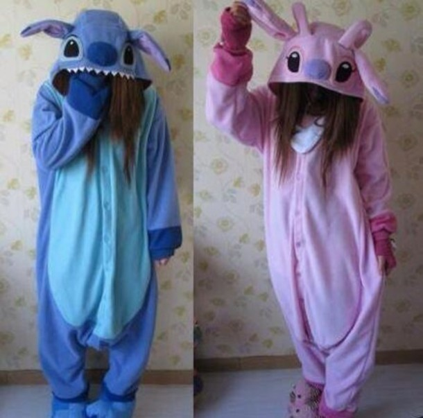 dress onesie onesie disney stitch girl jumpsuit stictch costume pajamas pink and blue pjamas halloween costume lilo and stitch blue and pnk