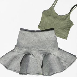 skirt cicihot scuba skirt grey fashiom boho sexy girly