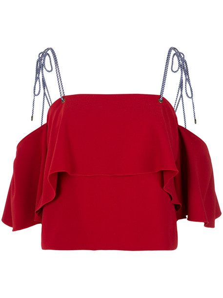 top cropped ruffle women spandex red