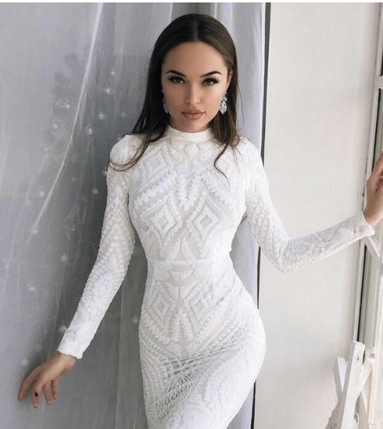 dress white white dress bodycon dress beautiful