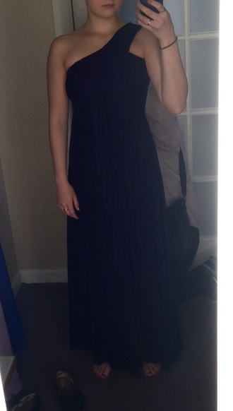 dress blue dress long prom dress prom gown navy dress one shoulder dress