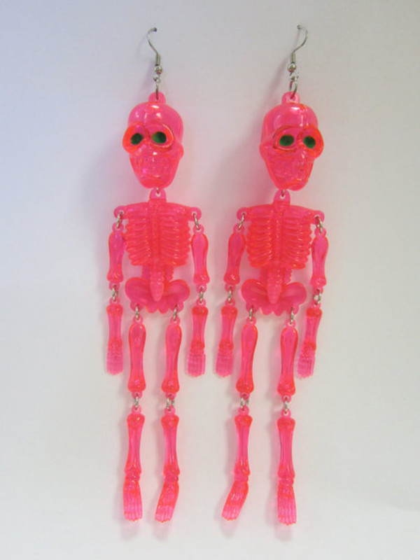 jewels earrings pink skeleton plastic kitsch halloween costume halloween
