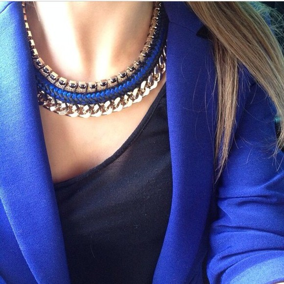 jewels gold necklace gold necklace girly blue electric blue blazer blue blazer