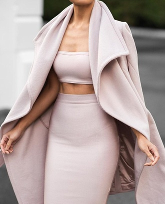 coat jacket sweater pink outfit clothes skirt top pumps heels nude crop tops style scrapbook style fashion