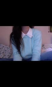 blouse,blue,collar,triple,sweater,jumper,cashmere,cute,brunette