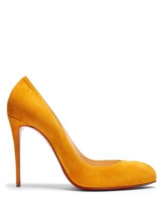 suede pumps pumps suede yellow shoes