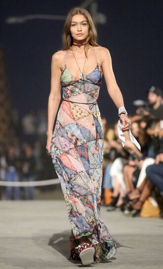dress summer dress runway gigi hadid model maxi dress tommy hilfiger pattern