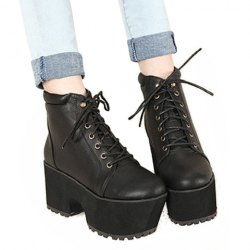 Wholesale Punk Style Women's Short Boots With Lace-Up and Solid Color Design (BLACK,39), Boots - Rosewholesale.com