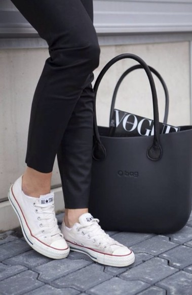 bag tote bag tote black matte leather bags black bag designer o bag obag pants