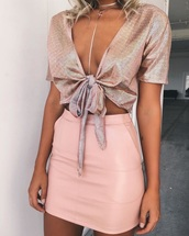 top,pink,light pink,baby pink,crop tops,tank top,bow tie,bows,v neck,plunge v neck,short sleeve,summer,summer outfits,spring