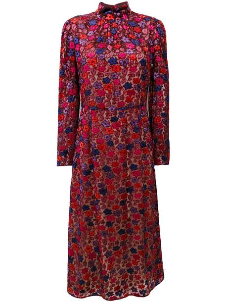 Prada dress high women silk purple pink