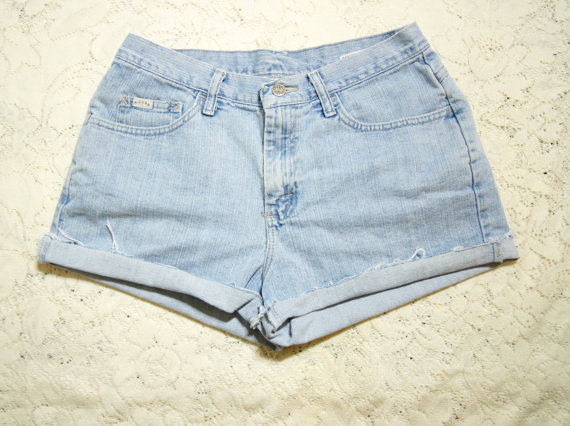 Cutoff Jeans Shorts High Waist Large 30 Waist by WhiteWaveVintage