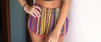 shorts ball pom pom strip indie hipster hippie polka dots squares multicolor