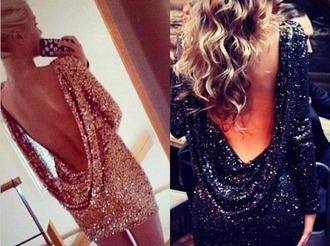 dress open back glitter glitter dress sequins