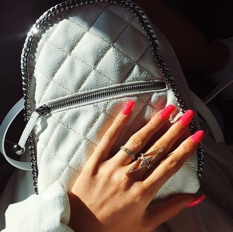 jewels ring triangle ring bag jewelry white backpack kylie jenner kendall jenner quilted bag