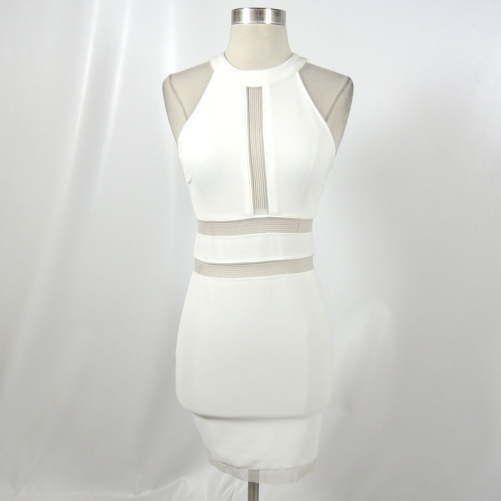 Kylie Jenner Lipsy Off White Cut Out Sheer Stretch Dress Size US 2