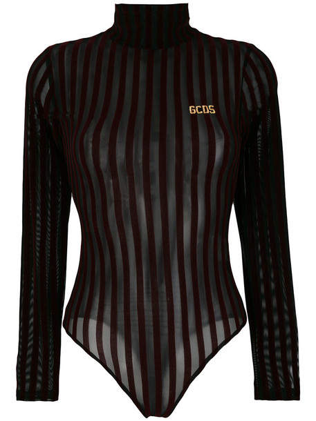 Gcds - velvet stripe high neck body - women - Polyamide/Spandex/Elastane - XS, Black, Polyamide/Spandex/Elastane
