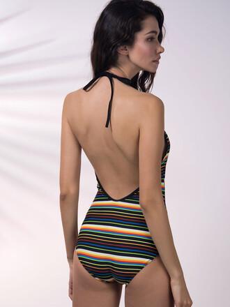 swimwear chiclook closet stripes streetwear backless lace up beach summer trendy fashion