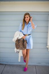 gal meets glam,blogger,loafers,animal print,shirt dress,blue shirt,office outfits,animal print bag,dress,light blue,denim,denim dress