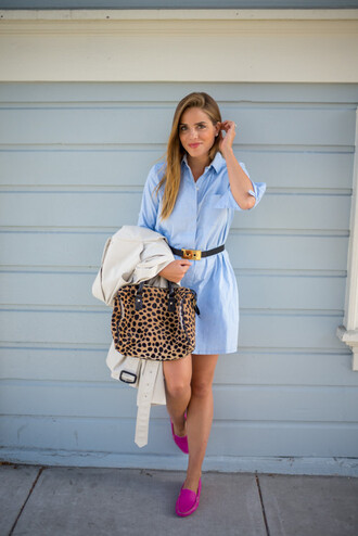 gal meets glam blogger loafers animal print shirt dress blue shirt office outfits animal print bag dress light blue denim denim dress