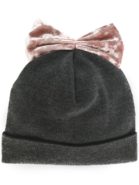 bow beanie velvet grey hat