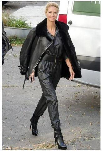 jacket pants jumpsuit leather jacket leather pants heidi klum boots shoes