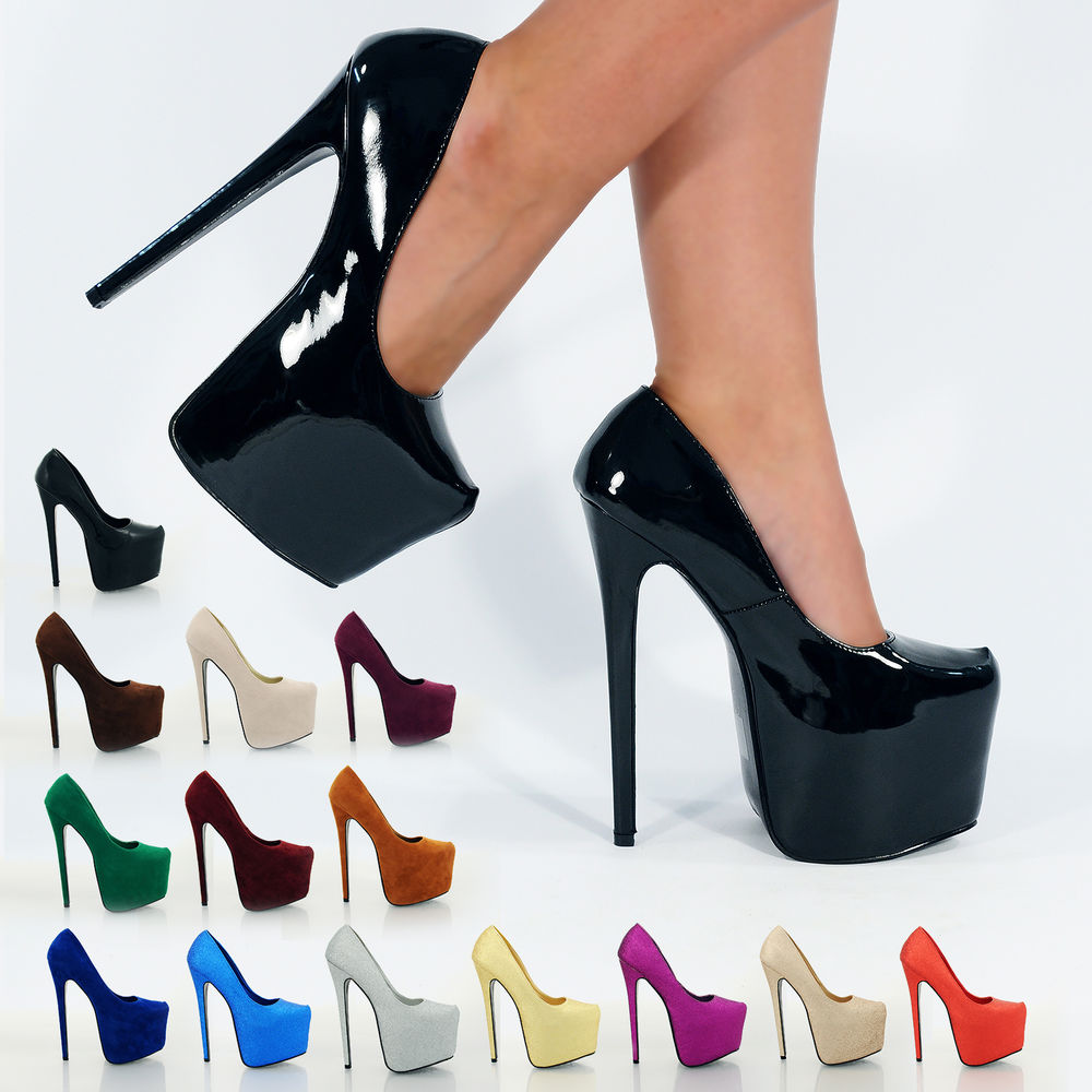 New Super High Killer Heels Platform Shoes 7 inch Stiletto Pump Party Colours | eBay