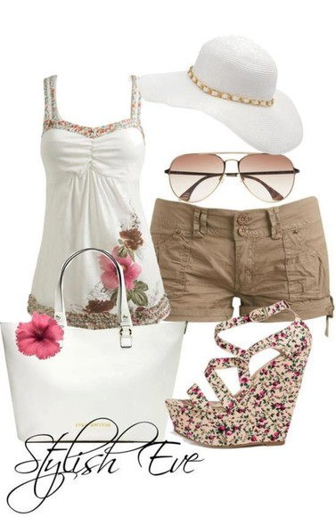 white bag purse wedges shirt flowers flowered top white