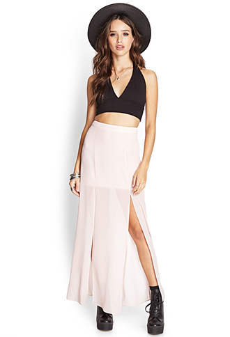 M-Slit Sheer Maxi Skirt | FOREVER 21 - 2000088643