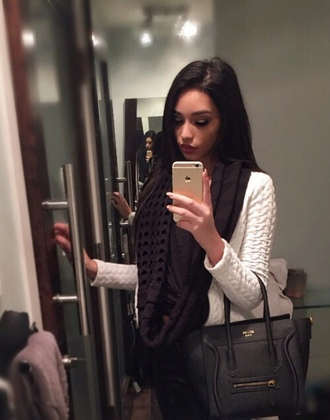 sweater white sweater cute outfits scarf celine designer bag