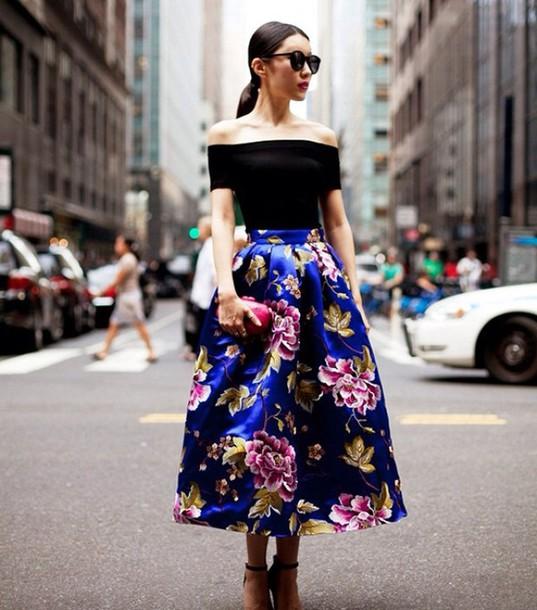 93d1b06a1 skirt, flowers, flowerskirt, flower maxi skirt, long skirt, blue ...
